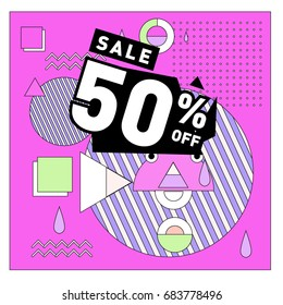 Summer sale memphis style web banner. Fashion and travel discount. Vector holiday Abstract colorful illustration with special offers and promotion.