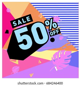 Summer sale memphis style web banner. Fashion and travel discount poster. Vector holiday Abstract colorful illustration with special offer and promotion.