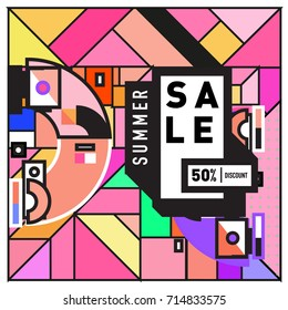 Summer sale memphis style web banner. Fashion and travel discount poster. Vector holiday Abstract colorful retro illustration with special offer and promotion.