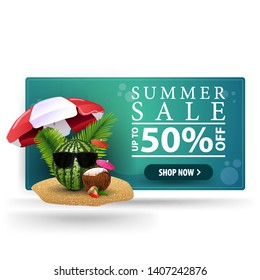 Summer sale, modern 3D volumetric banner for your creativity with watermelon in glasses under a beach umbrella
