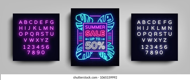 Summer sale neon sign. Design template typography poster Summer Sales, Tropical flowers neon, Summer discounts neon, brochure, banner, bright advertising. Vector illustration. Editing text neon sign