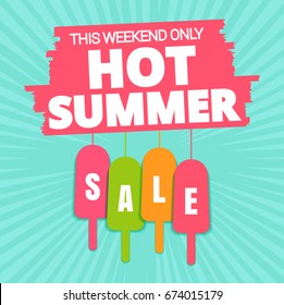 Summer sale offer, banner template. Colored ice-cream with lettering, isolated on blue background. Summer ice-cream sale tags. Shop market poster design. Vector illustration. EPS 10