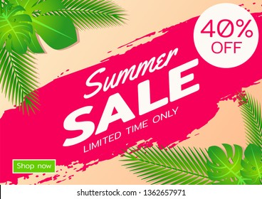Summer sale offer banner,sea and beach theme with its symbol,modern and fashionable design,vector illustration