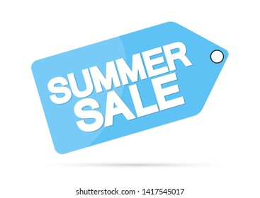 Summer Sale, offer tag, discount banner design template, vector illustration