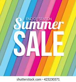 Summer sale on colorful striped seamless background.