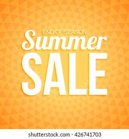 Summer sale on orange triangle background.