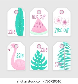 Summer sale with palm, watermelon and flamingo