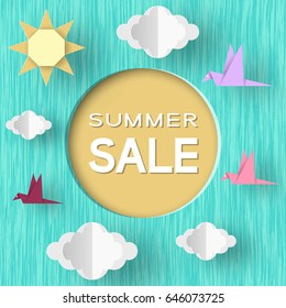Summer Sale Paper Concept Origami Elements and Objects with Typographic Text illustrate the Advertising Coupon. Trendy Background. Template for Banner, Card, Logo, Poster. Vector Illustrations Design.