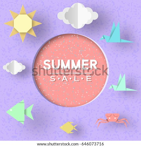Summer Sale Paper Concept Origami Symbols Stock Vector Royalty Free