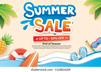 Summer sale with paper cut symbol and icon for advertising beach background. Art and craft style. Use for ads, banner, poster, card, cover, stickers, badges, illustration design.