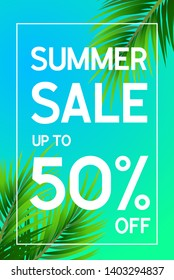 Summer sale poster up to 50 percent off with palm leaf