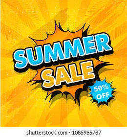 Summer sale, poster, banner or flyer design in pop-art style with 50% off offer on yellow rays background.