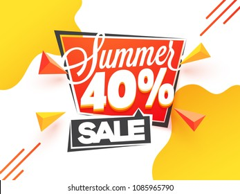 Summer sale, poster, banner or flyer design with stylish text and 40% off offer on yellow and white background.