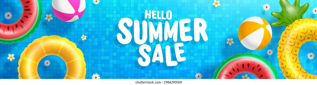 Summer Sale poster and banner template with Colorful Float on water in the tiled pool Background. Sale banner Design for Summer in flat lay styling. Promotion and shopping template for Summer and pool