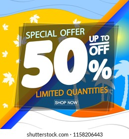 Summer Sale, poster design template, Autumn season discount 50 percent off, special offer, vector illustration