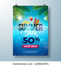 Summer Sale Poster Design Template with Beach Holiday Elements and Exotic Leaves on Underwater Blue Ocean Background. Tropical Vector Illustration with Special Offer Typography for Coupon, Voucher
