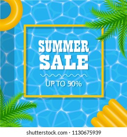 Summer sale poster with sea or pool surface and palm leaves, inflatable mattress and yellow rubber ring, vector illustration