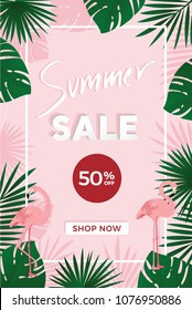 Summer sale poster template with green leaves, Flamingos and 50 percent off sign on pink  background