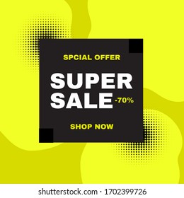Summer sale poster template. Hot season offer background with palm leaves.