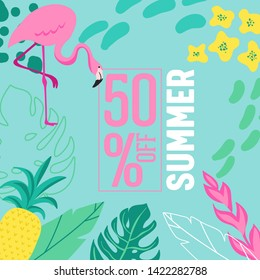 Summer Sale poster with tropic leaves, flowers, flamingoes, advertisement banner  tropical background in modern flat style, flash spring special offer, poster vacation ad, flyer. Vector illustration