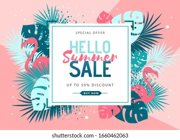 Summer sale poster with tropic leaves and flamingo. Summer background