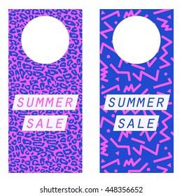 Summer Sale Printable Doorknob Hangers - 80's neon retro style