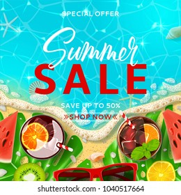 Summer sale promo background template. Top view on Summer decoration with realistic objects on beach. Vector illustration with special discount offer. Concept of seasonal vacation in tropical country.