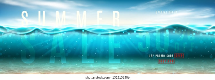Summer sale promo banner. Vector illustration with deep underwater ocean scene. Background with realistic clouds, sea horizon and marine bottom with seashells.