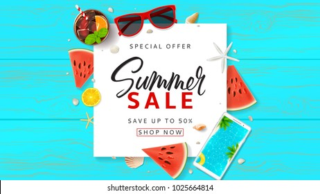 Summer Sale promo web banner. Top view on sun glasses, watermelon pieces, cocktail, smartphone, orange and seashells on wooden texture. Vector illustration with spesial discount offer.