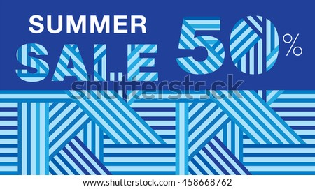 657dc7aa8 Summer sale. Promotional poster with blue abstract geometric pattern. Up to  50% off