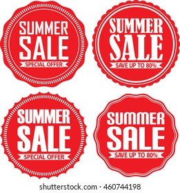 Summer sale red label set, vector illustration