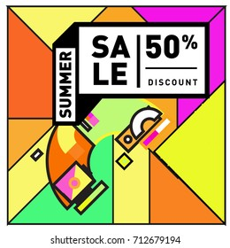 Summer sale retro memphis style web banner. Fashion and travel discount poster. Vector holiday Abstract colorful retro illustration with special offer and promotion.