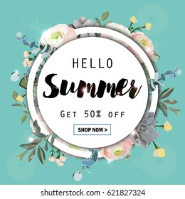 Summer sale round background with flowers, ranunculus, succulent, eucalyptus. EPS10 vector illustration template. Banner, flyer, invitation, posters, brochure, voucher discount. Advertising.