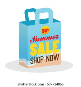 Summer Sale with Shopping Bag Illustration Banner promotion