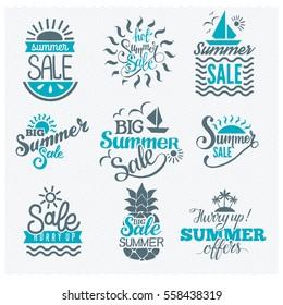 Summer sale shopping logo badge vector set. Store summertime blue original flat line style logotypes
