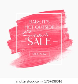 Summer Sale sign over pink watercolor art brush stroke paint abstract background vector. Perfect acrylic design for a shop banners.