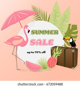 Summer Sale. Sign with Toucan, Flamingo, case, palms, pineapple and beach accessories in watermelon colors