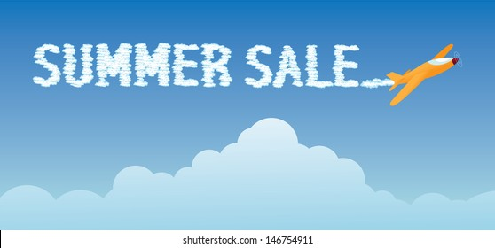 Summer sale skywriting. EPS 10 vector, grouped for easy editing. No open shapes or paths.