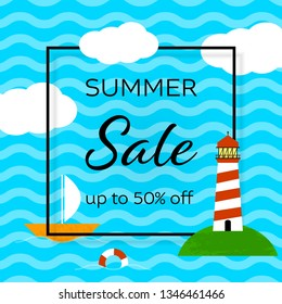 Summer sale social media post template. Tourist agency special offer advertising. Holiday vacation cartoon web banner design. Sea waves, lighthouse, yacht paper cut. Square flat frame with text space