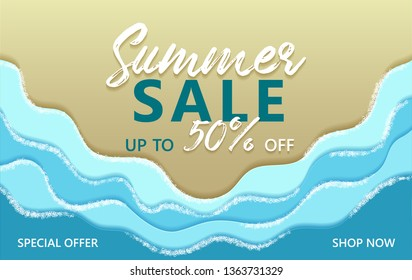 Summer sale special offer up to 50% off banner with sand beach and ocean blue coastal waves, sea foam vector illustration. Shop now summer sale poster. Marine seaside sand, blue water, sea waves foam.