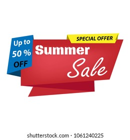 Summer Sale, special offer banner, up to 50% off. Vector illustration. Business concept.