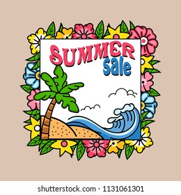 Summer sale square banner template.