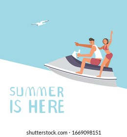 Summer sale square banner template. People on summer vacation concept. A young man and woman race on aquabike. Flat Art Vector Illustration
