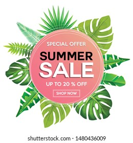 Summer Sale Sticker with Tropical Leaves. CircleTemplate Icon. Vector Illustration. Beautiful Modern Design for Seasonal Offers, Sale Banners for Shops and Web