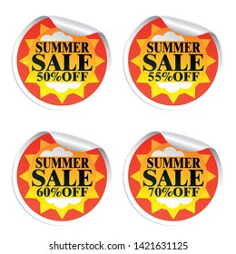 Summer sale stickers 50,55,60,70 with sun.Vector illustration