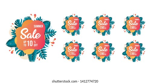 Summer Sale tags set vector badges template, 10 , 20 , 90, 80, 30, 40, 50, 60, 70 percent sale label symbols, discount promotion flat icon with long shadow