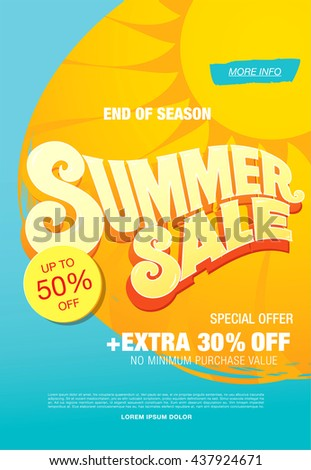 Summer Sale Template Banner Stock Vector Royalty Free 437924671