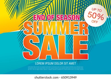 Summer sale template banner in bright colors, vector illustration