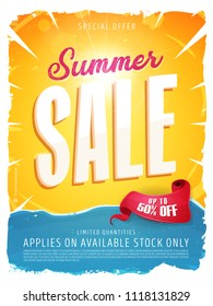 Summer Sale Template Banner/ Illustration of a summer sale template banner with colorul elements, typography and grunge frame