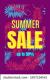 Summer sale template banner, poster with palm leaves, jungle leaf. Floral tropical summer background. Vector illustration template